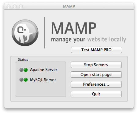 MAMP Start Screen