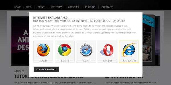 IE6 Wordpress Plugin Upgrade Screen